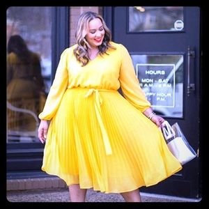 Lane Bryant x Beauticurve Yellow Pleated Dress
